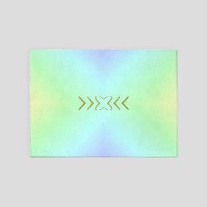 mint,light and dark blue shiny fest 5'x7'Area Rug