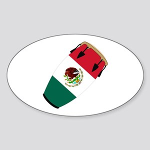 Conga Mexico Flag Band Oval Sticker