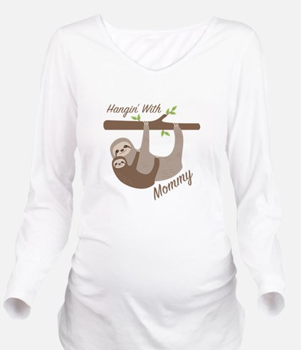 Hanging With Mommy Long Sleeve Maternity T-Shirt