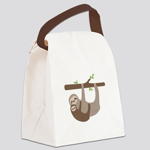 Sloths In Tree Canvas Lunch Bag