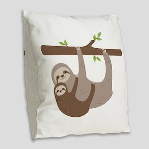 Sloths In Tree Burlap Throw Pillow