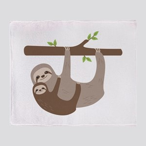 Sloths In Tree Throw Blanket