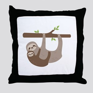 Sloths In Tree Throw Pillow