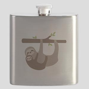 Sloths In Tree Flask