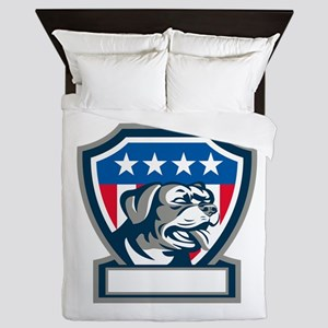 Rottweiler Guard Dog USA Flag Crest Retro Queen Du
