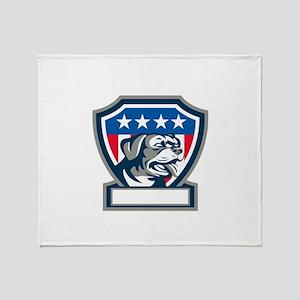 Rottweiler Guard Dog USA Flag Crest Retro Throw Bl