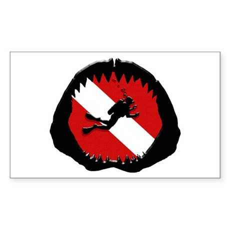 Diver Down Shark Jaw Original Sticker (Rectangular