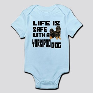 Life Is Safe With A Yorkipoo Dog D Infant Bodysuit