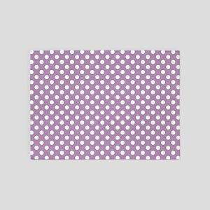 Lavender Polka Dots 5'x7'Area Rug