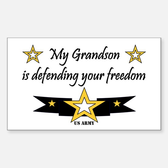 Army Grandson Defending Freedom Sticker (Rectangul