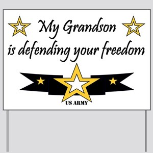 Army Grandson Defending Freedom Yard Sign