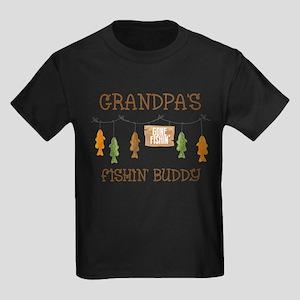 Gone Fishing Line Grandpa Kids Dark T-Shirt