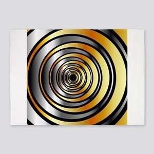 Illusion with metallic rings 5'x7'Area Rug