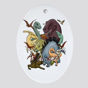 I Heart Dinosaurs Oval Ornament