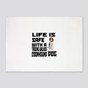 Life Is Safe With A Treeing Walker 5'x7'Area Rug