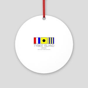 Tybee Island Georgia Nautical Flag Round Ornament