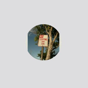 no stopping sign tree clods sky Mini Button