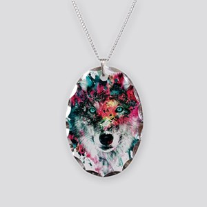 Wolf Necklace Oval Charm