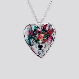 Wolf Necklace Heart Charm