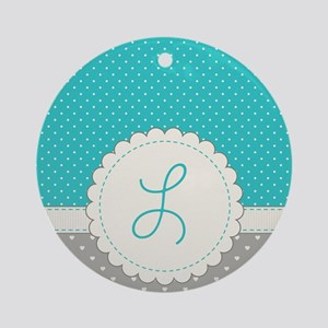 Cute Monogram Letter L Round Ornament