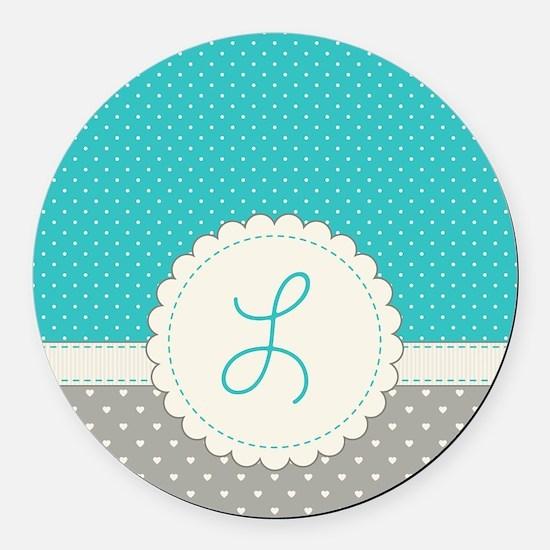 Cute Monogram Letter L Round Car Magnet