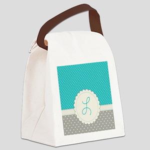 Cute Monogram Letter L Canvas Lunch Bag