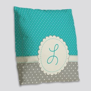 Cute Monogram Letter L Burlap Throw Pillow