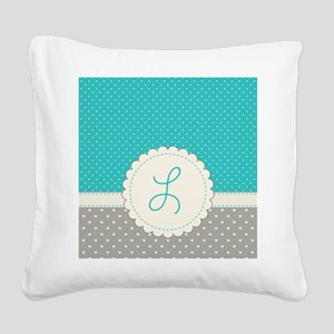 Cute Monogram Letter L Square Canvas Pillow