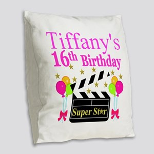 PERSONALIZED 16TH Burlap Throw Pillow
