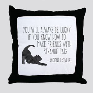 Strange Cats Throw Pillow