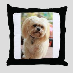 Koko blond lhasa Throw Pillow