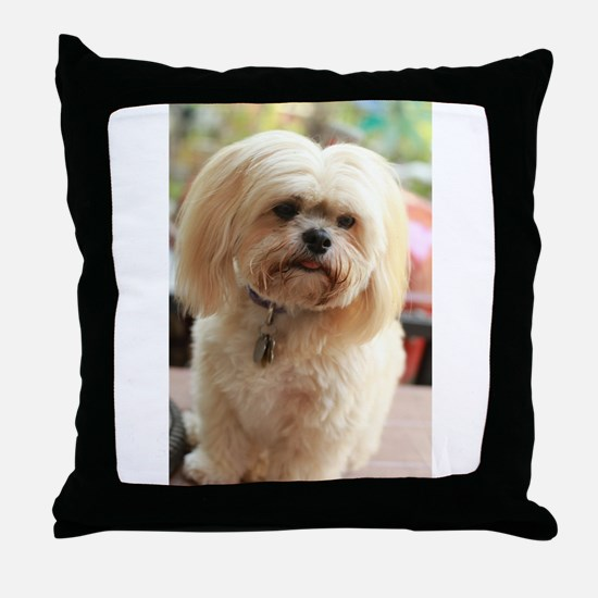 Koko blond lhasa Throw Pillow