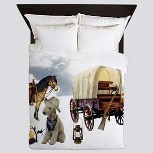 Cowboy Bedlington Terrier Queen Duvet