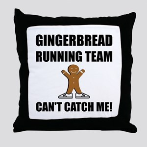 Gingerbread Running Team Throw Pillow