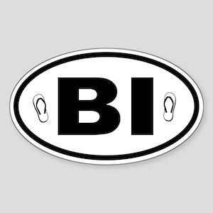 Block Island Flip Flops Oval Sticker