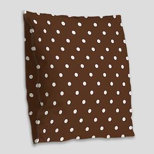 Brown, Chocolate: Polka Dots P Burlap Throw Pillow