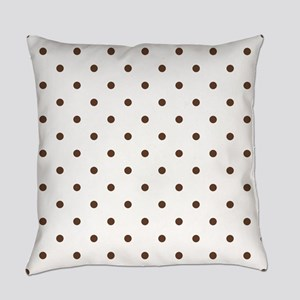 Brown, Chocolate: Polka Dots Patte Everyday Pillow