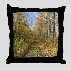 Hiking Trail In Autumn Throw Pillow