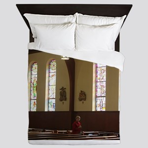 inside a church and pews Queen Duvet