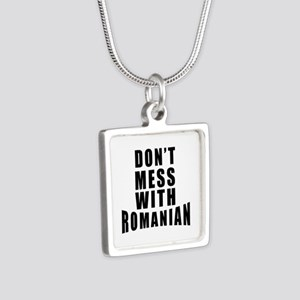 Don't Mess With Romania Silver Square Necklace