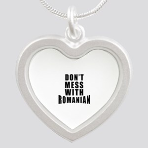 Don't Mess With Romania Silver Heart Necklace