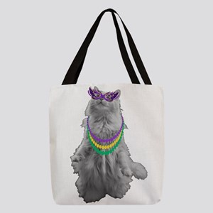 Mardi Gras Cat Polyester Tote Bag