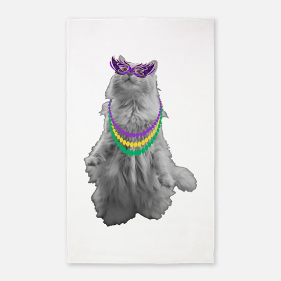 Mardi Gras Cat Area Rug