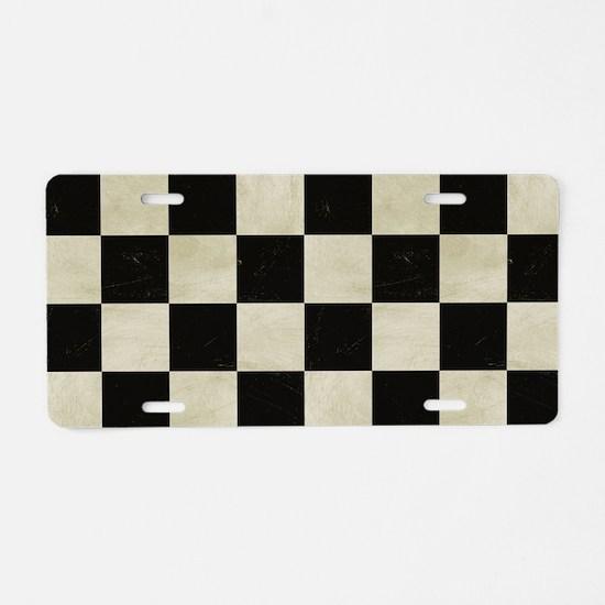 Checkered Flag Aluminum License Plate