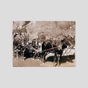 Wild West Bullion Wagon 5'x7'Area Rug