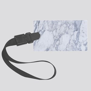 White and Gray Marble Stone Patt Large Luggage Tag