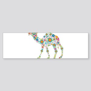 Colorful Retro Floral Camel Bumper Sticker