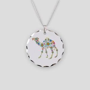 Colorful Retro Floral Camel Necklace Circle Charm