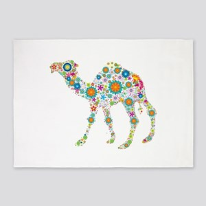 Colorful Retro Floral Camel 5'x7'Area Rug