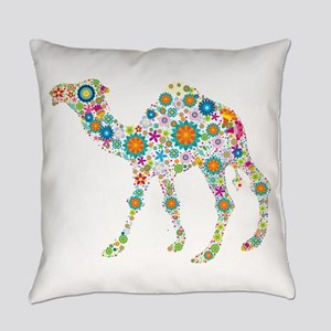 Colorful Retro Floral Camel Everyday Pillow